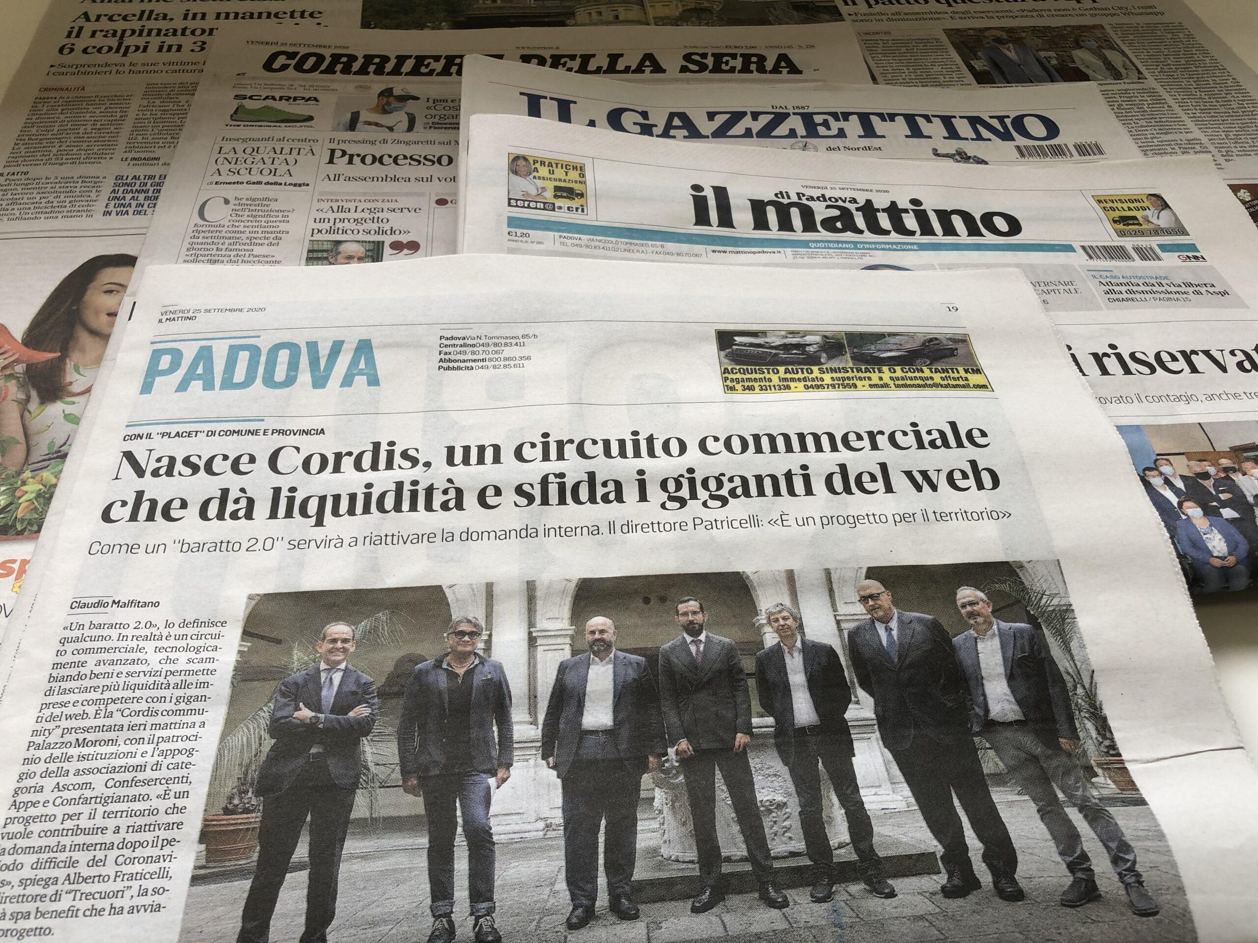 CORRIERE DEL VENETO – Cordis, moneta virtuale per rilanciare consumi e imprese