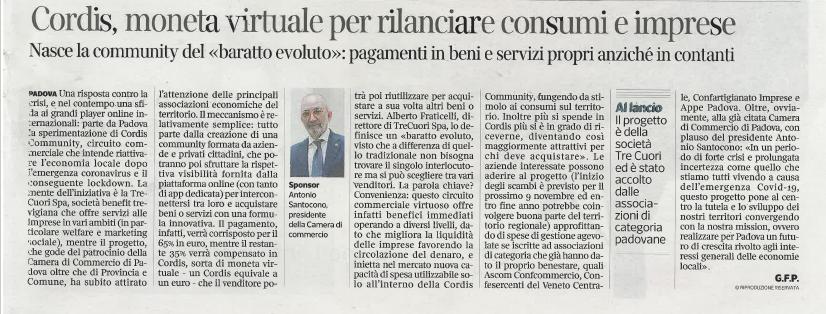 Cordis Community sul Corriere del Veneto