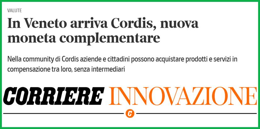 CORRIERE INNOVAZIONE – In Veneto arriva Cordis, nuova moneta complementare