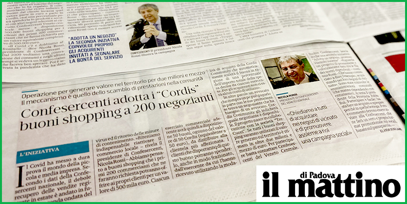 """IL MATTINO DI PADOVA – Confesercenti """"adotta"""" i Cordis buoni shopping a 200 negozianti"""