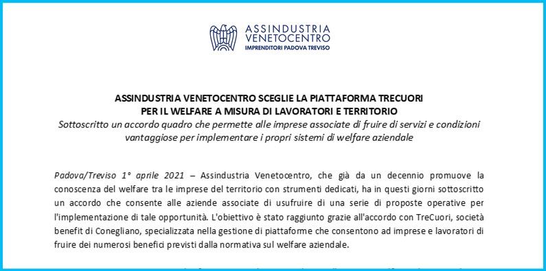ASSINDUSTRIA VENETOCENTRO sceglie la piattaforma TreCuori per il welfare a misura di lavoratori e territorio